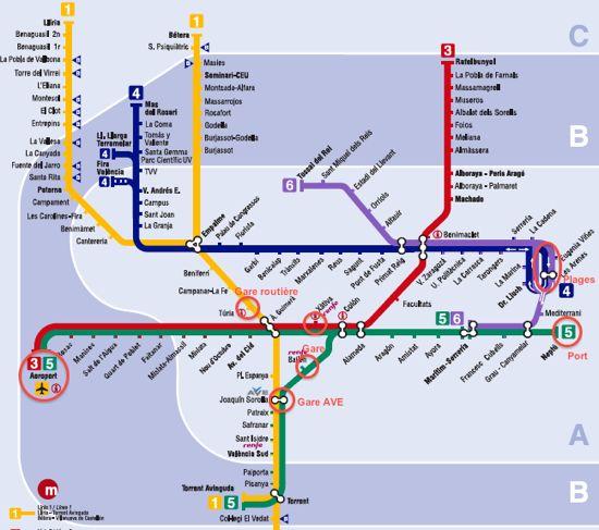 Plan du métro de Valencia